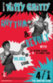 Club Nitty Gritty Rhythm & Blues Dance Party, DJ Action Slacks Portland Soul DJ, Kenton Club Soul Night, Rhythm & Revolt, 60s Soul Dance Party Poster, Portland Grahic Designer
