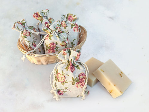 Rose soap in gift pouch