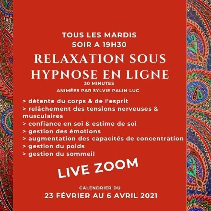 Relaxation sous hypnose en ligne du 23 février au 6 avril 2021