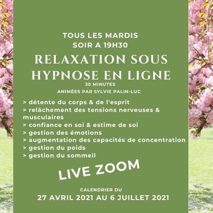 Relaxation sous hypnose en ligne du 27 avril au 6 juillet 2021