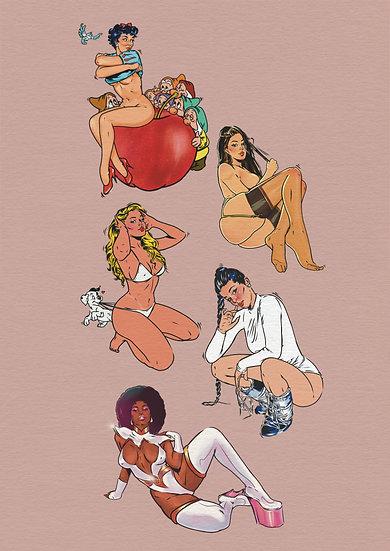 Sassy Pin ups Art Print