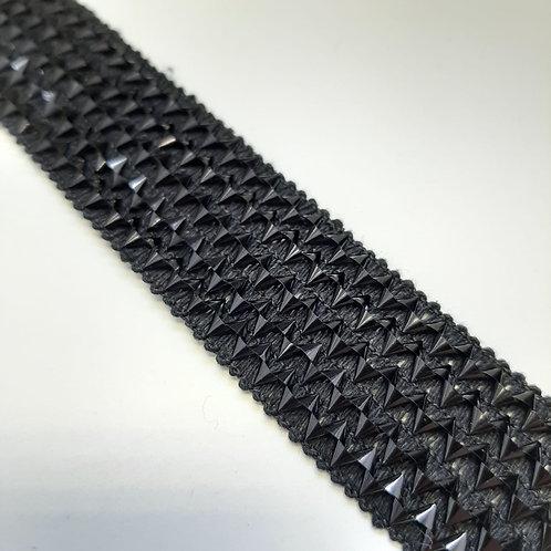 Elastisches, dekoratives Band bestickt, schwarz, 37mm