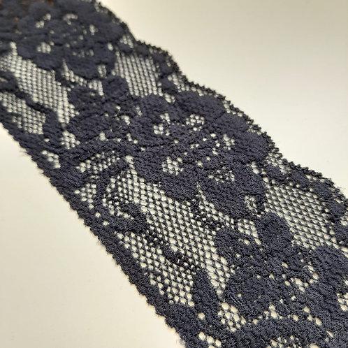 Elastisches Spitzenband in jeansblau, 60mm