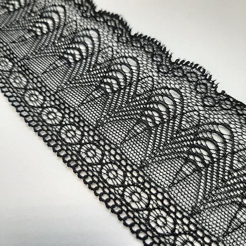 Elastisches Spitzenband schwarz einseitigem Bogenabschluss, 60mm