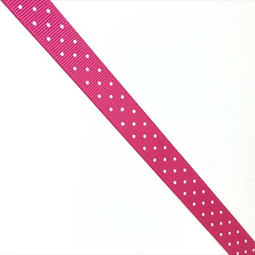 Ripsband pink mit weissen Punkten 15mm