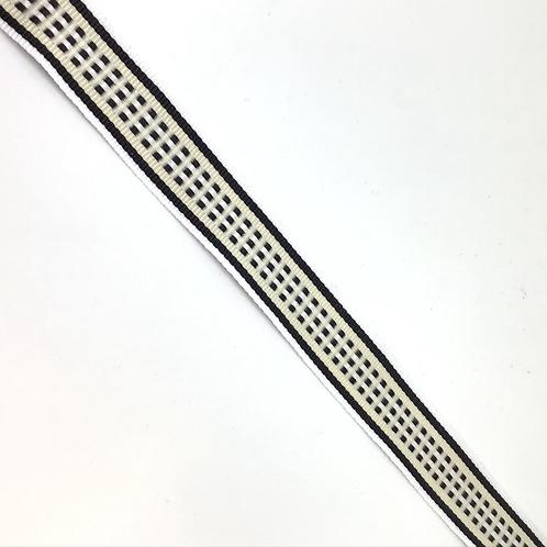 Gemustertes Band in weiss, schwarz, beige, 18mm