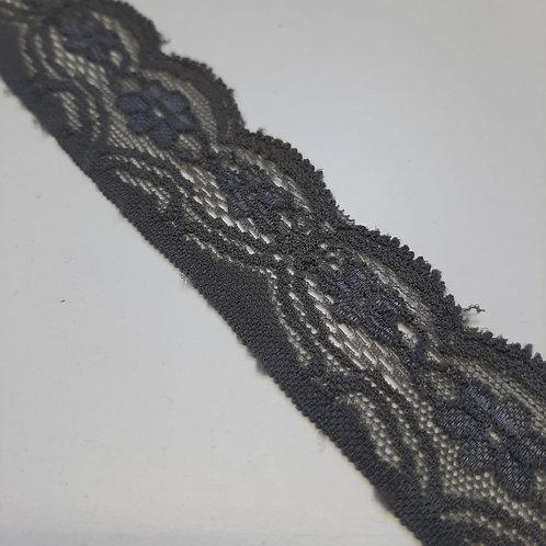 Elastisches Spitzenband grau, 30mm