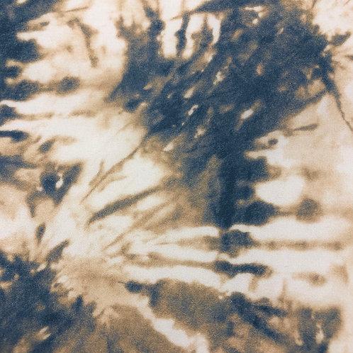 Weich fallender Tencelstoff in Batikoptik sand/jeansblau