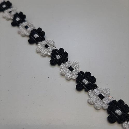 Blumenband schwarz weiss, 13mm