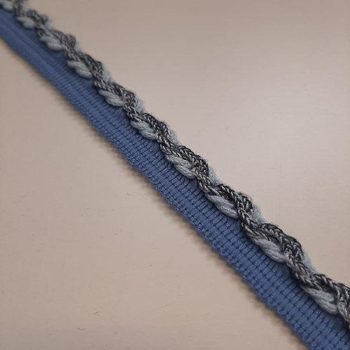 Dekoratives Passpoile mit Kordel in hellblau, 15mm
