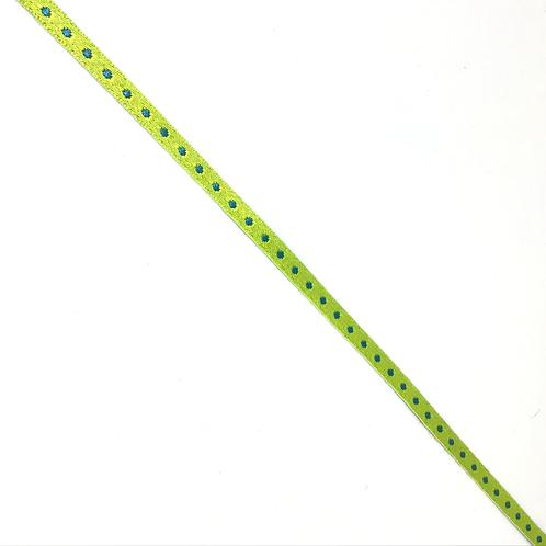 Webband hellgrün mit türkis Tupfen, reversible, 5mm