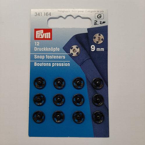 Druckknöpfe zum Annähen Grösse 9 schwarz und silber