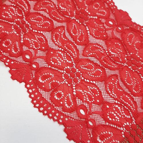 Elastisches Spitzenband rot mit beidseitigem Bogenabschluss, 135mm