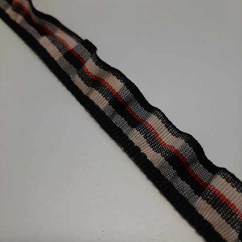 Elastische Rüsche schwarz, beige, rot gestreift, 18mm