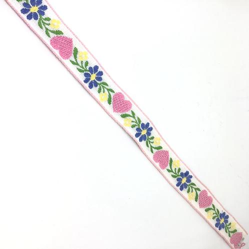 Gemustertes Band weiss mit Herzen und Blumen 18mm