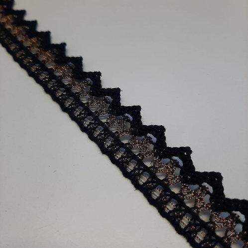 Spitzenband schwarz mit Muster 20mm
