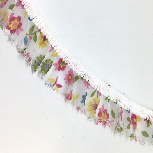 Elastische Rüschen weiss mit Blumen, 25mm