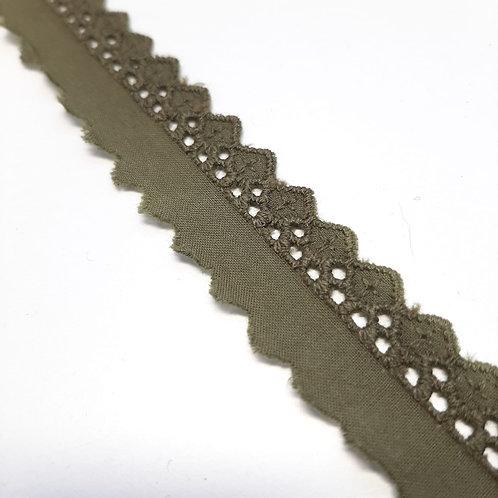 Baumwoll Broderiespitze olive 20mm