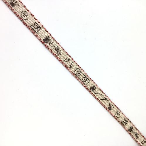 Webband écru mit Druck von Nähsachen, Rand rot, ganze Rolle, 8mm
