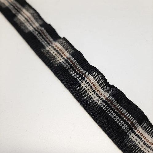 Elastische Rüsche schwarz, beige gestreift, 18mm