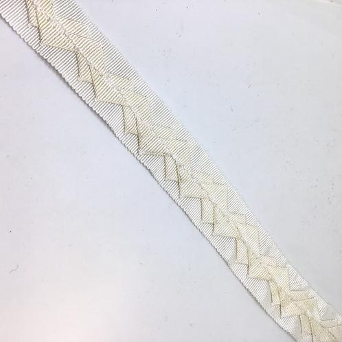 Ripsband mit Dekoration weiss, schwarz, 25mm