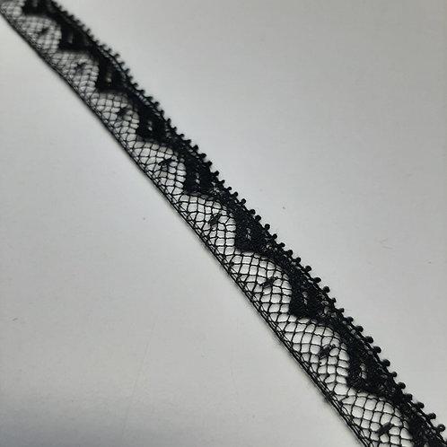 Feines Spitzenband schwarz, 13mm