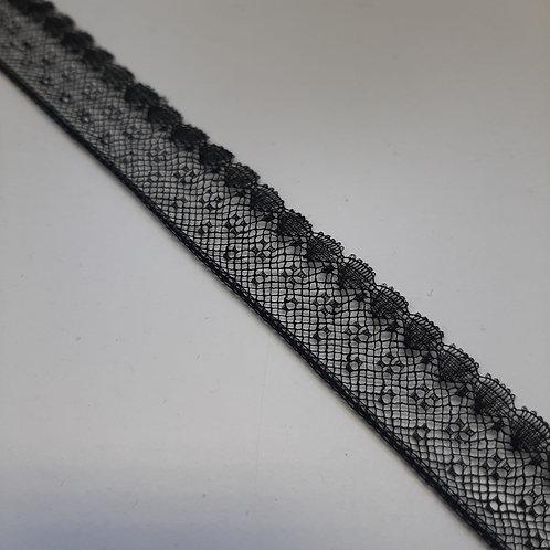 Feines Spitzenband schwarz, 18mm