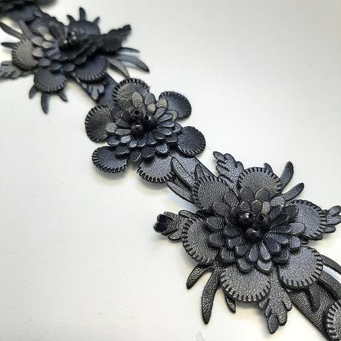 Kunstlederblumen Band schwarz, 30mm