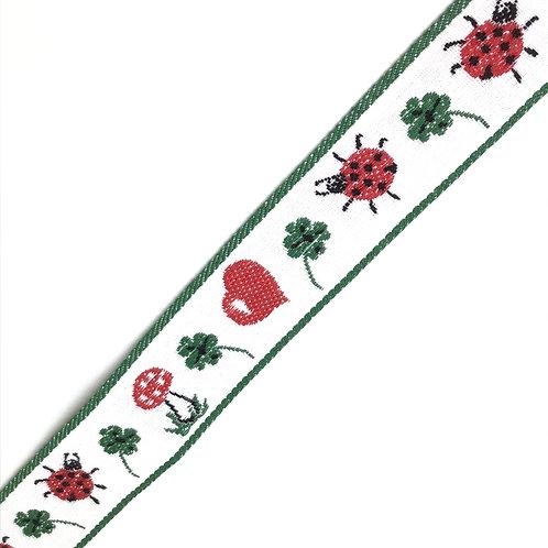 Webband mit Glückssymbolen, 30mm breit