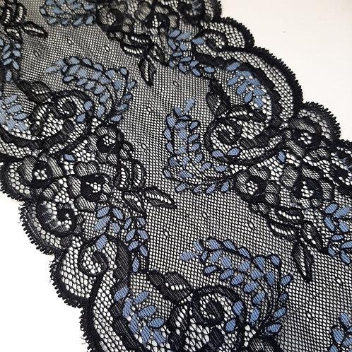Elastisches Spitzenband schwarz mit taubenblau, 150mm