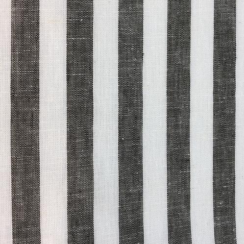 Leinen/Baumwollstoff grau/ weiss gestreift