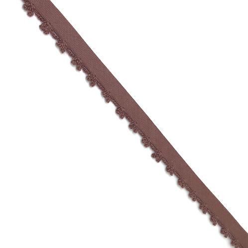 Baumwollschrägband mit Häkelabschluss braun und hellblau