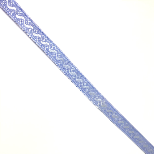 Gemustertes Band in hellblau, 14mm