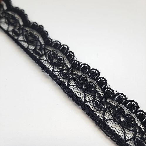 Feines Spitzenband schwarz, 23mm