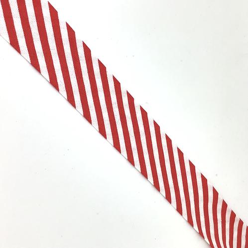 Baumwollschrägband rot, weiss diagonal gestreift