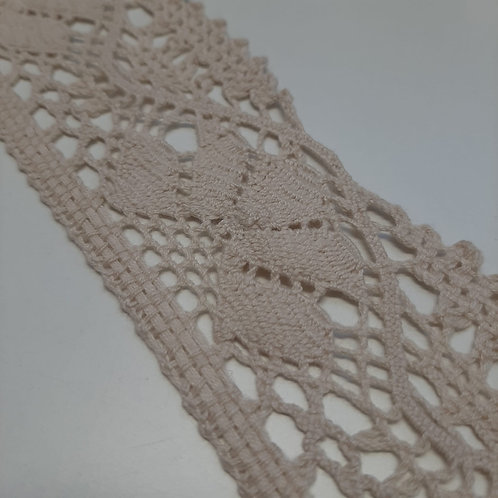 Spitzenband grob Baumwolle beige 55mm