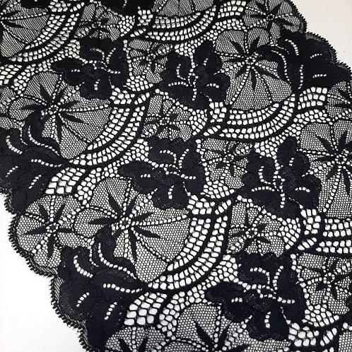 Elastisches Spitzenband schwarz, 220mm