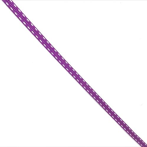 Ripsband mit weissem Zierstich violett und hellblau, 5mm