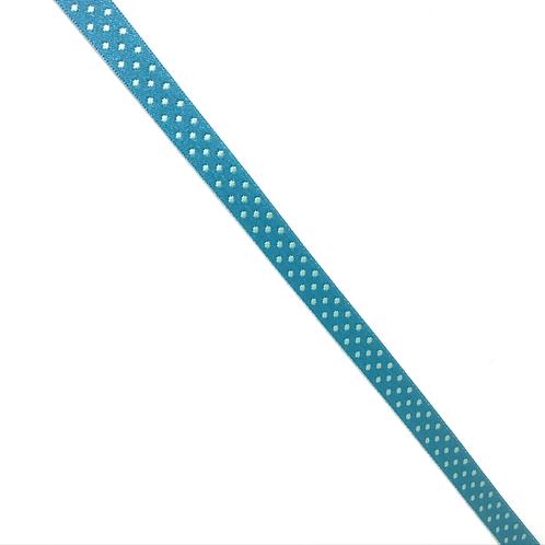 Webband türkis mit hellblauen Punkten, reversible, 10mm