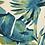 Thumbnail: Viskose/Leinen Stoff mit schönem Blätterprint in petrol/olive