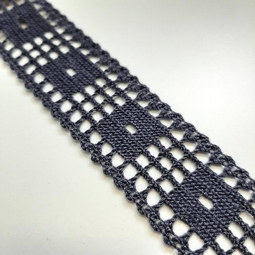 Häkelspitze, jeansblau, 34mm