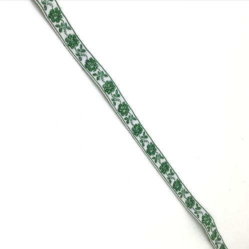 Gemustertes Band weiss mit grünen Blümchen, 9mm