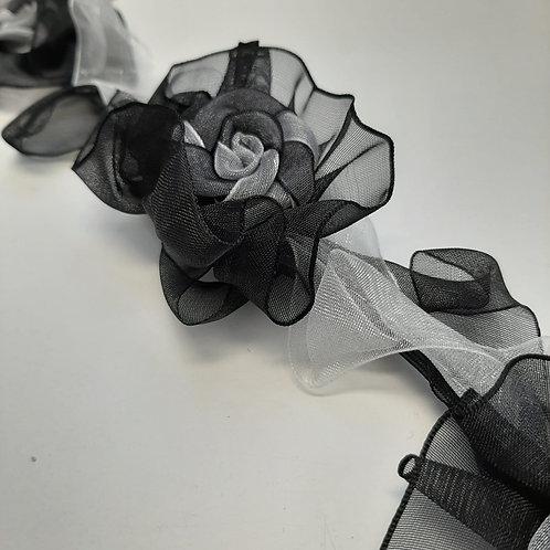 Band mit Organzblumen schwarz,weiss,grau