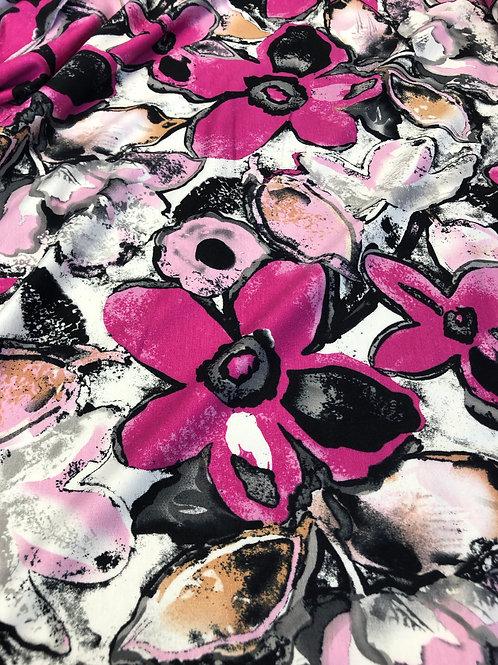 Viskose Jersey Blumen pink