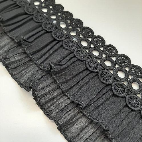 Spitzenband mit Chiffonrüsche schwarz, 57mm
