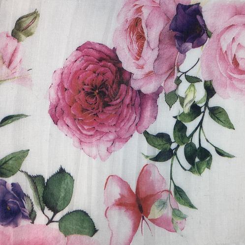 Bedruckter Baumwollstoff weiss mit Rosen in Crinkleoptik