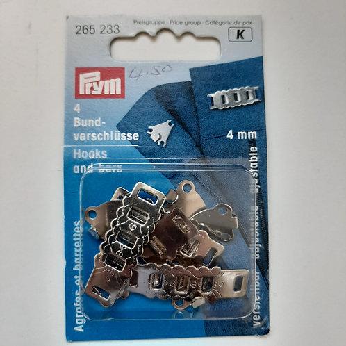 Bundverschlüsse verstellbar, silber, 4mm