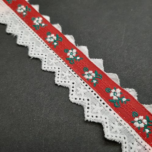 Broderieband weiss mit gemustertem  Blumenband rot , 27mm