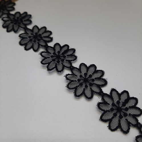 Organzablumen Band schwarz, 25mm