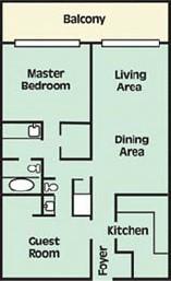 Floorplan of 2 Bedroom Condo